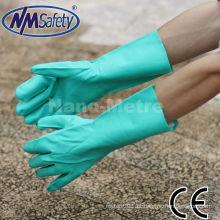 NMSAFETY longa luva industrial nitrilo verde à prova d 'água