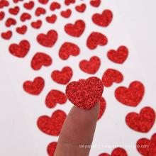 Kids Gift Red Shining Love Shape self adhesive glitter sticker sheet glitter paper sticker