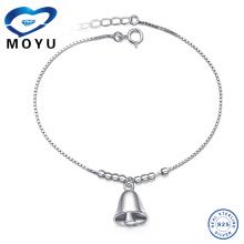 Venta al por mayor de joyería de la India pulsera de plata de tobillo encanto pulsera de plata con campanas en rodio plateado