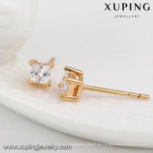 23594- Xuping Schmucksache-Art- und Weise18K Gold überzogene Bolzen-Ohrringe mit quadratischem Zircon