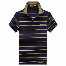 OEM Kurzarm CVC Garn gefärbt Streifen Polo-Shirt