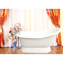 Enamel Slipper Cast Iron Bathtub With Pedestal Base