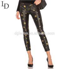 Pantalones de cuero de las mujeres de la moda pantalones de cuero apretados delgados negros del estiramiento