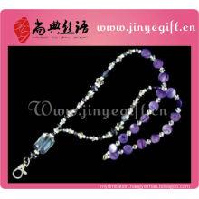Fashion Jewelry Purple Shell Crystal Bead Keychain Necklace
