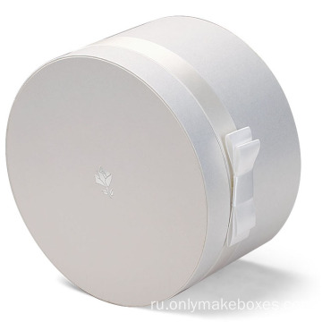 White Round Box with Silver Logo