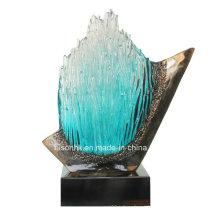 Vidro estátua resina artesanato para decoração do hotel