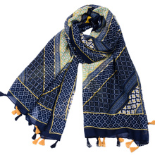 Factory supply Large diamond pattern geometric printing viscose navy blue turkey scarf