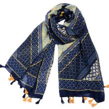 Fornecimento de fábrica Grande padrão de diamante geométrica impressão viscose azul marinho lenço de peru