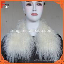 Piel de cordero de Mongolia Cuello de piel real