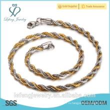 Материал из нержавеющей стали Оптовая 24K золото заполнены витой цепи ожерелье Продаем по метр, золото Choker Ожерелье