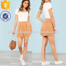 Fold Pleat Detail Tailored Shortss Manufacture Wholesale Fashion Women Apparel (TA3016B)