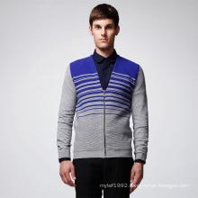 Fashion Striped Man Knit Cardigan with Zip