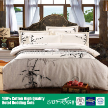 2017 New design hotel linen white cotton embroidery hotel bedding set