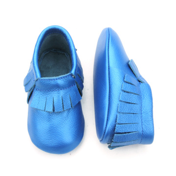 Venta al por mayor Real Leather Anti Skid Baby Mocasines