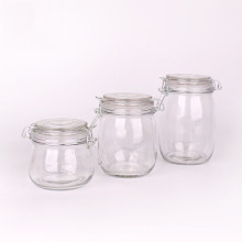 clip top 800ml glass storage bottles round sealable Glass Jar with Clip lock glass Jar