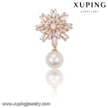 00023-xuping broches de oro de moda, broche al por mayor solo broche de perlas