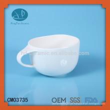 Caneca de cerâmica branca lisa da sopa, copo da sopa, caneca do macarronete das crianças