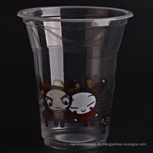 Taza transparente de plástico con tapas planas para café helado