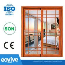 Portes en verre élégante en aluminium verre portes coulissantes/porte coulissante/intérieur