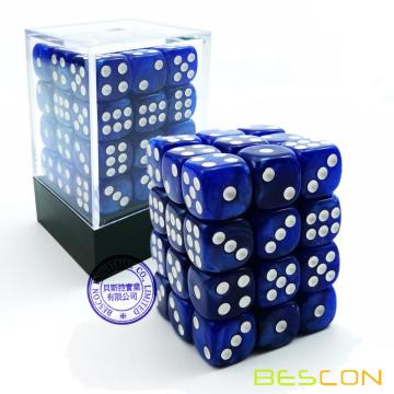 Bescon 12mm 6 caras Dice 36 en Brick Box, 12 mm Six Sided Die (36) Bloque de dados, Marble Blue