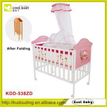 Hersteller NEU Baby Cot dicke Matratze High Pole Mosquito Net Faltbare Baby Cot Pink für Mädchen