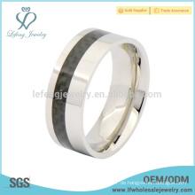 Art und Weise Titan Stahl Mens Band Ring, schwarze Carbonfaser Ring Schmuck
