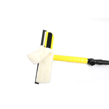 Customized Yellow window squeegee with Microfiber  removable handle