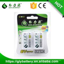 Baterias recarregáveis do li-íon 9v 680mah de alta capacidade