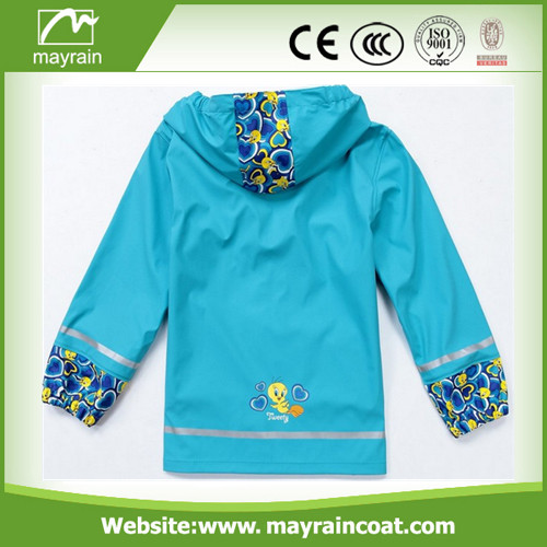 Bright Blue Color PU Rainwears