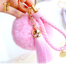 Highly Genuine Rabbit Fur Ball KeychainTrinket 8cm Chave de bola de pele Chaveiro Chaveiro