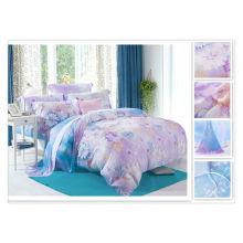 40 * 40s 133 * 72 реактивная печать Комплект постельных принадлежностей из шелка с шелковым шелковым шелком