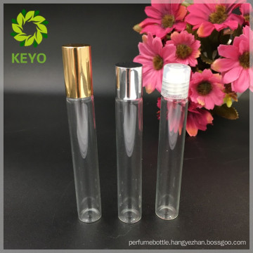 Small clearly glass 10 ml roll on bottle for essential packing