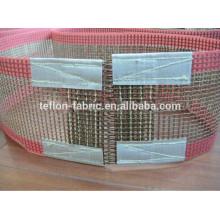 Correa transportadora de larga duración de la fibra de vidrio del teflón del PTFE de la venta caliente con la cremallera