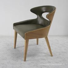 Móveis de madeira clássica sala de jantar cadeira de couro (LU-137)