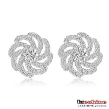 Custom Zircon Whirlwind Brass Stud Earrings (CER0200-B)