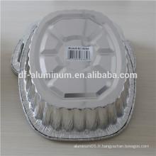Plaque de torréfaction ovale à vide jetable, plaque de cuisson en aluminium