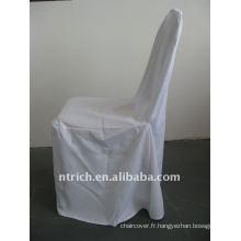 couverture standard de chaise de banquet de couleur blanche, matériel de polyester de CTV555, durable et facile à laver