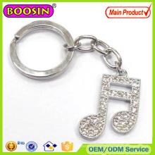 Professional Design! Custom Hand Made Rhinestone Golden Music Note Metal Keychain