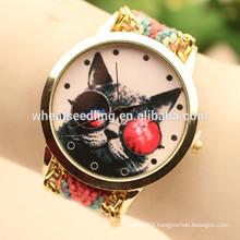 Owl handmade wooven fabric jewelry watch