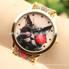 Coruja handmade wooven relógio de jóias de tecido