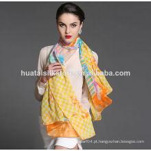 100 seda Oblong Chiffon cachecol de seda de pescoço