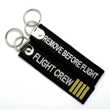 Classic Design Black Embroidered Logo Keychain Wholesale