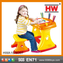 Hot Selling Plastic 2 In 1 Kids Cartoon Study Table And Chair