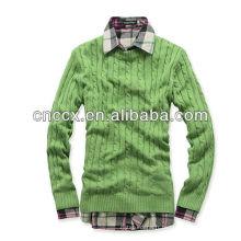 13STC5641 chandail de pull en coton pour hommes hommes pull en tricot de câble de coton hommes