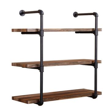 Industrial Steel Pipe Wooden Shelf