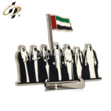Benutzerdefinierte Zink-Legierung Emaille Druck Metall UAE Silber Stand Medaillon