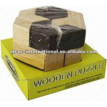 wooden iq puzzle/3d wooden brain teaser puzzle