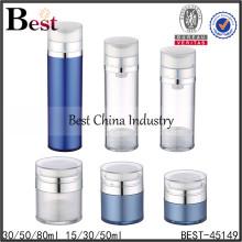 botella sin aire del animal doméstico de la loción de acrílico, botella sin aire del animal doméstico para el cosmético