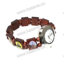 Novo estilo de madeira pulseira moda relógio de pulso com imagem de santo