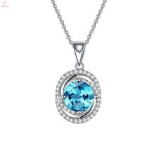 Пользовательские Серебро 925 Пробы Кулон Новый Ожерелье Голубой Бриллиант